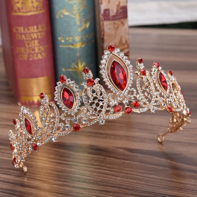 DIEZI Baroque Luxury Gold Color Crown Bridal Wedding Hair Accessories Red Blue Crystal Crowns Tiaras Diadem Girls Headbands
