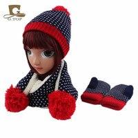 kids children Knit Hat Scarf Gloves 3 pcs winter set for girls boys snowflake pattern style