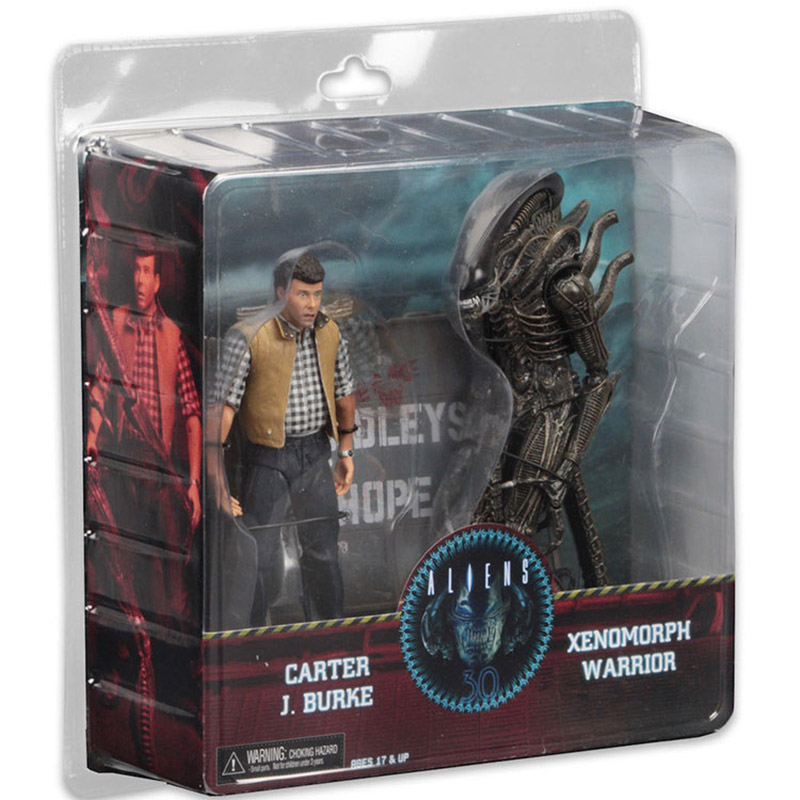 NECA ALIENS Figure CARTER J BURKE VS XENOMORPH WARRIOR Action Figure Toy 2-pack 17-21 cm neca alien lambert compression suit aliens defiance xenomorph warrior alien pvc action figure collectible model toy 18cm