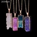 SEDmart Irregular Rectangle Natural Stone Pink Purple Quartz Gem Stone Pendant Necklace Crystal Pendant Necklace For Women
