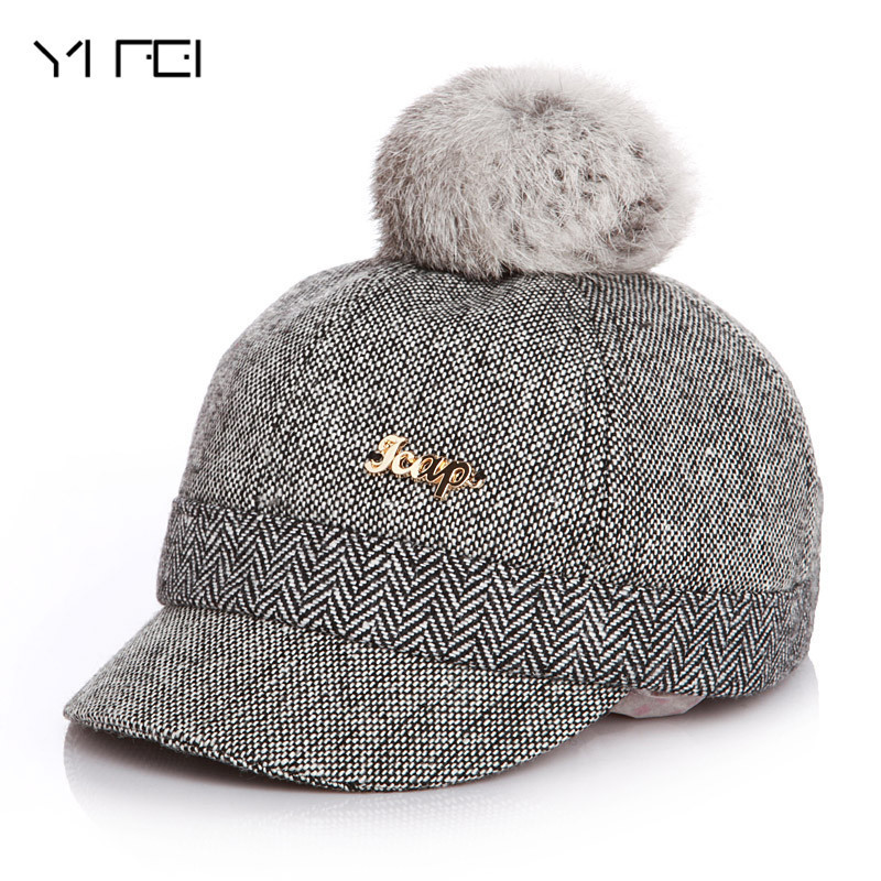 YIFEI Kid Winter Pompon Equestrian Cap For Girl Boy Warm Children Winter Baseball Cap 100% Real Rabbit Hair Ball Sports Golf Hat