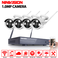 4CH CCTV System Wireless 720P NVR Security Camera System 4PCS 1MP IR Outdoor P2P Wifi