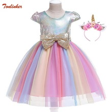 Unicorn Party Kids Dress For Girls Sequined Bow Princess Dress With Flower Headband Child Girls Unicorn Costume Cinderella Dress недорого