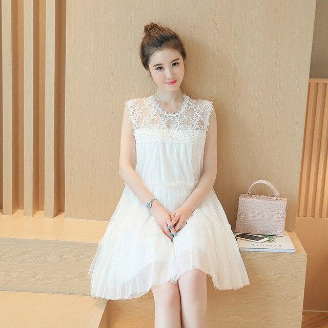 259ed3508c28e فستان حمل 2019 أزياء الصيف الجديدة الكورية س الرقبة النسخة من الغزل الربط  الدانتيل النساء الحوامل