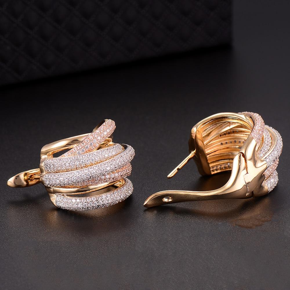 Image 4 - GODKI 25mm luksusowe Twist plecione linie kolorowe pełne Mirco różowy cyrkonia ustawienie europejskie wesele kolczyk biżuteriaKolczyki z zapięciem typu sztyftBiżuteria i akcesoria -