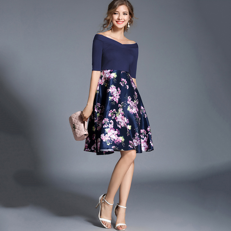 Tanpell off the shoulder homecoming dress blue half sleeves knee length a line gown women patchwork graduation homecoming dress
