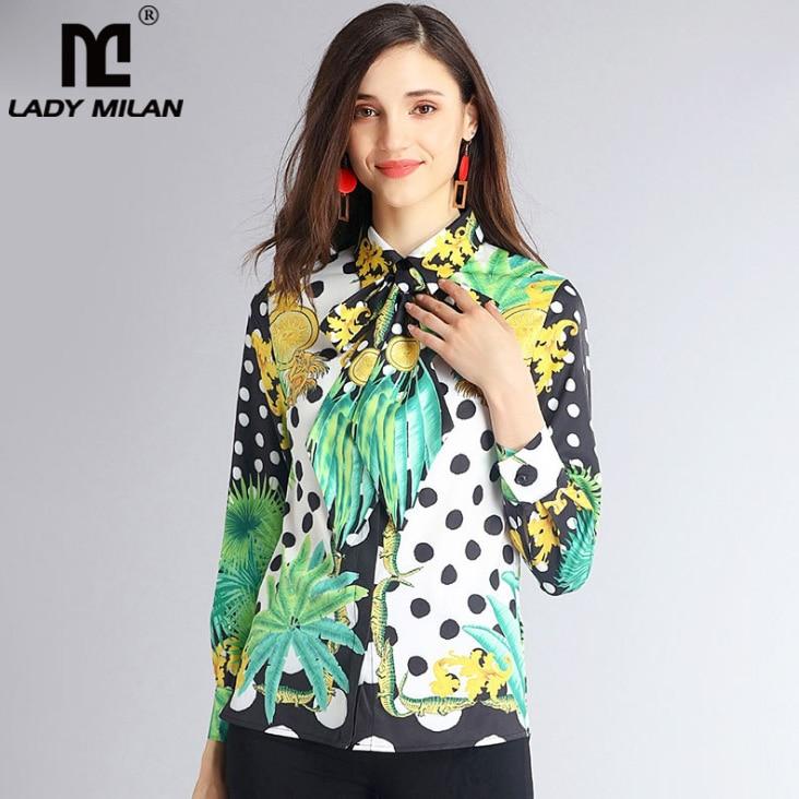 High Quality New Arrival 2018 Womens Turn Down Collar Long Sleeves Sash Bow Printed Fashion Casual Shirts