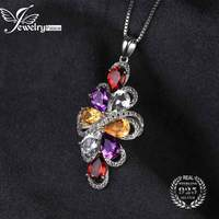 JewelryPalace 6ct Natrual Amethyst Garnet Citrine Green Amethyst Necklace Pendant 925 Sterling Silver 45cm Chain Jewelry