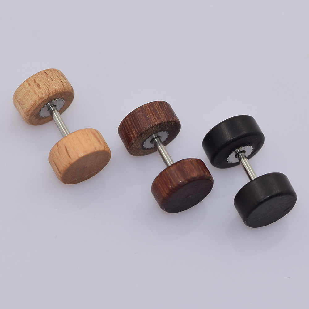1 Pair fashion lychee Wooden Surgical Steel Fake Earrings Cheater Stud Ear Plug Flesh Tunnel Stretch Expander