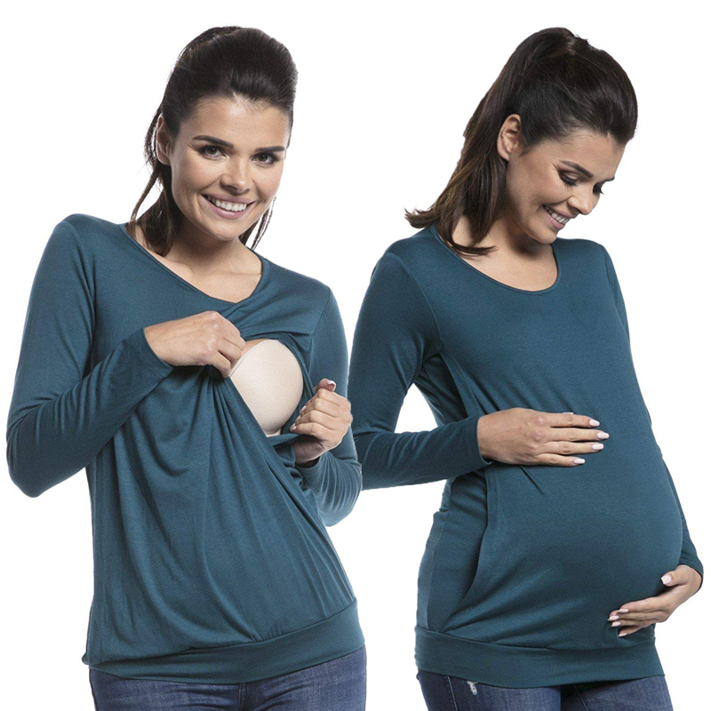 Autumn Bottom Nursing Maternity Tops For Pregnant Women Shirts Maternity Feeding Lactation Mother Wear Breastfeeding Clothing