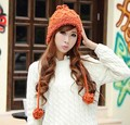 2015 Autumn and winter freeshipping lovely Wool knitted fashion beanies with cute ball Women fashion accessories