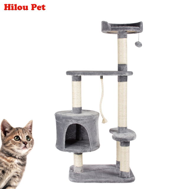 Multi-layer Cat Climbing Tree Toys Scratching Solid Wood for Cats Climbing Frame More Climbing Types Plush Pet Toy