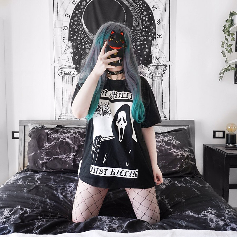Gothic grunge Loose graphic tees Letter Skull t-shirt with print Solid Black Harajuku tee shirt femme summer woman 2019