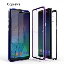 Oppselve 360 Double Sided Glass Magnetic Adsorption Phone Case For Samsung Galaxy S10 S9 S8 Plus Note 9 8 Metal Magnet Capinhas