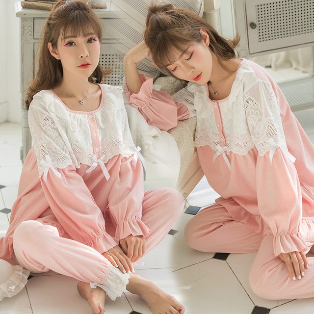 f0d9e84986 Sweet Pink Cotton Patchwork Lace Maternity Nursing Sleepwear Set Breast  Feeding Pajamas for Pregnant Women Cute Loose Pregnancy