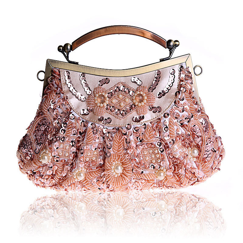 Evening Bags Women Clutch Bags Evening Clutch Bags Wedding Bridal Handbag Pearl Beaded Lace Rose Fashion Rhinestone Bags WY46