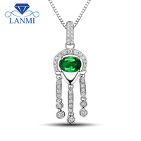Full Cut Natural Diamond Gemstone Pendant Oval 4x6mm Emerald In 18K White Gold WP054