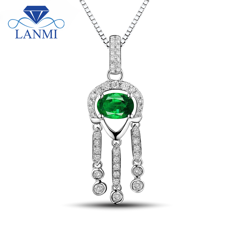 Luxury Solid 18Kt White Gold Good Quality Emerald Pendant Necklace Genuine Gemstone Diamond Wedding Jewelry for Women Gift
