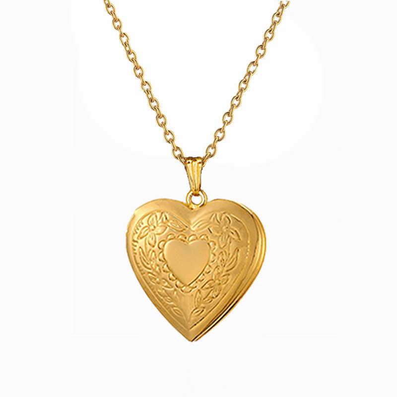 Женские Ювелирные изделия золотого и серебряного цвета подвеска кулон-сердечко ожерелье фоторамка цепь влюбленных Святого Валентина ожерелье дружеский подарок X179