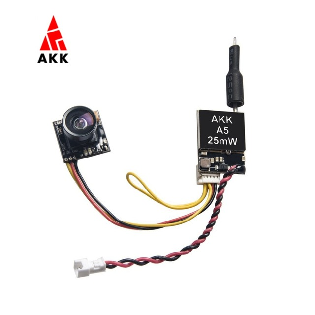 AKK A5 5.8Ghz 40CH 25mW FPV Transmitter 600TVL CMOS Micro Camera Switchable Raceband for Drone Like Tiny Whoop Blade Inductrix