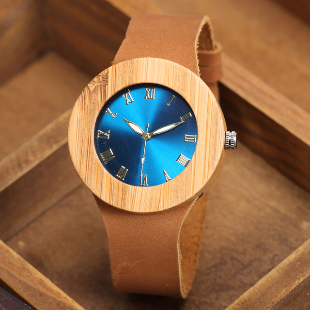 2017 GORBEN Brand Fashion Bamboo Ladies Wooden Watches For Women Luxury Royal Blue Green Shining Dial Leather Top Womens Watches 3