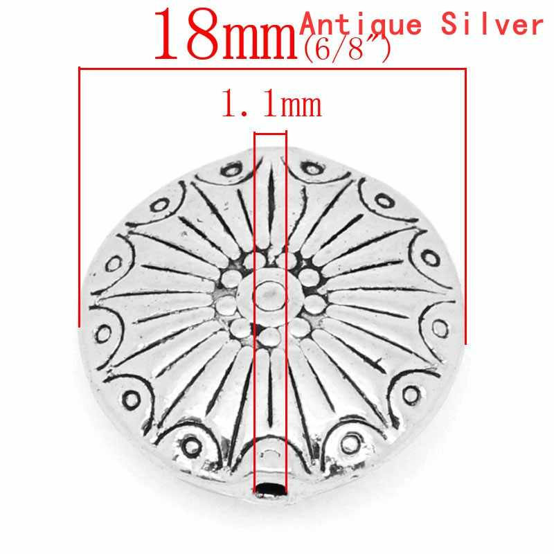 """DoreenBeads metaliczny cynk stop Spacer koraliki płaskie okrągłe antyczne srebrne z wzorem wzór około 18mm (6/8 """") Dia, otwór: około 1.1mm, 2 szt."""