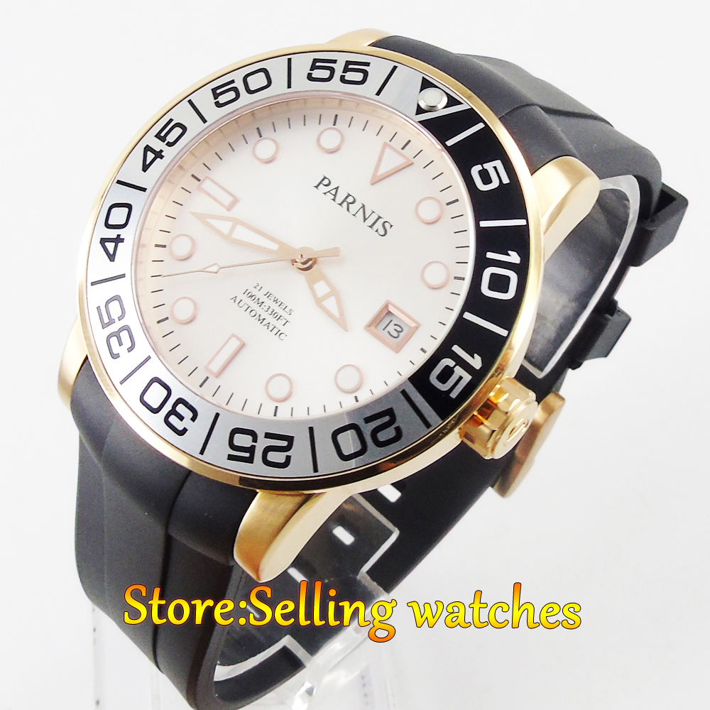 где купить Parnis 42mm Sapphire glass white dial Gold case date Miyota automatic mens watch по лучшей цене