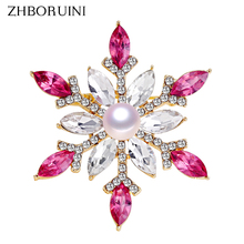 ZHBORUINI 2019 New Natural Pearl Brooch Snowflake Breastpin Freshwater Jewelry For Women Gift Accessories