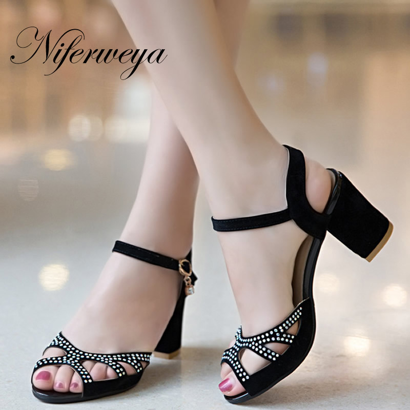 ФОТО 4 Colors Big size 32-48 summer women shoes fashion suede Peep Toe sandals Crystal decoration Buckle Strap thick heel high heels