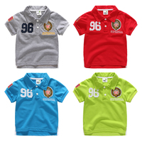Child 2015 Summer Short Sleeve Kids Boys Polo Shirts Girls Top Child Turn Down Collar Badge