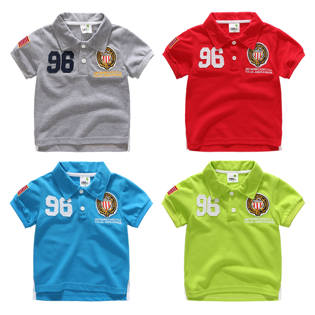 Child 2017 summer short-sleeve kids boys polo shirts girls top child turn-down collar badge pique cotton casual boys shirts 4-b