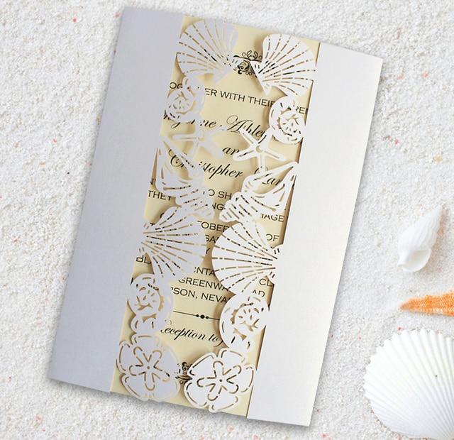 Beach Wedding Invitation Sea Party Invitations Seashell Starfish Set Of