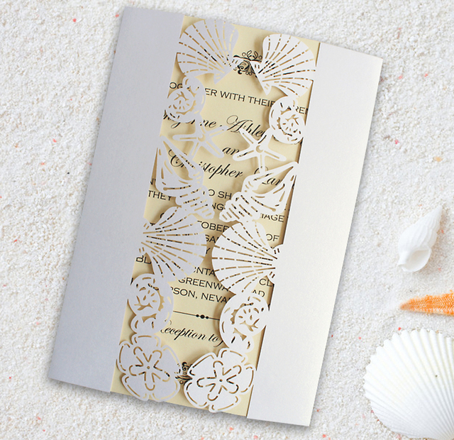 Strand Hochzeitseinladung, Meer Party Einladungen, Muschel Einladungen,  Starfish Einladung Set Von 50