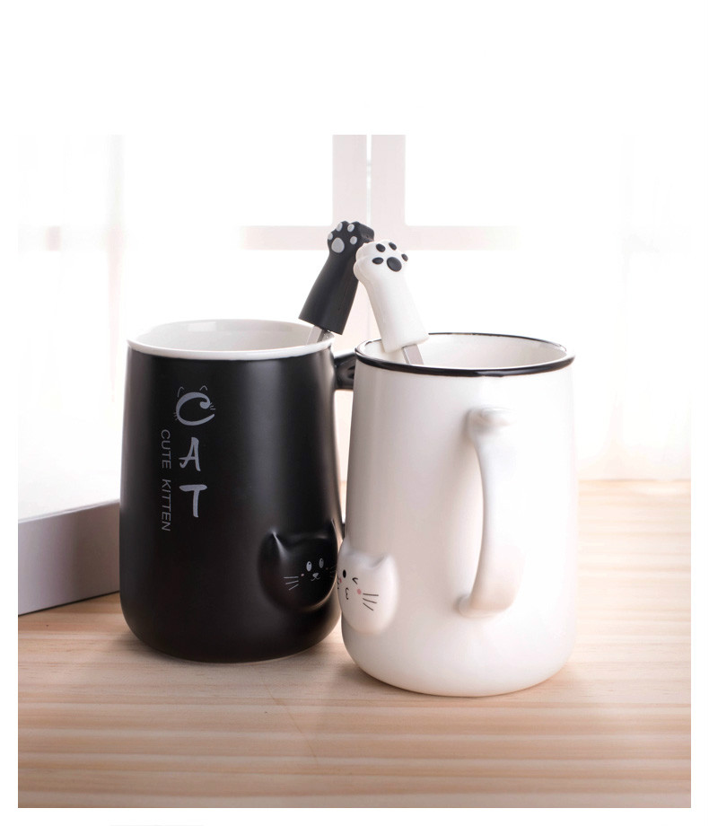 Cute Cat Ceramic Coffee Mug With Lid and Spoon