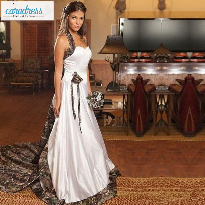Vintage Country Realtree Camo White Wedding Dresses 2017 Halter ...