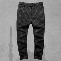 Для мужчин осень Новый стиль вертикальным узором хлопковые брюки Повседневное костюм брюки Для мужчин; британский стиль в полоску платье в