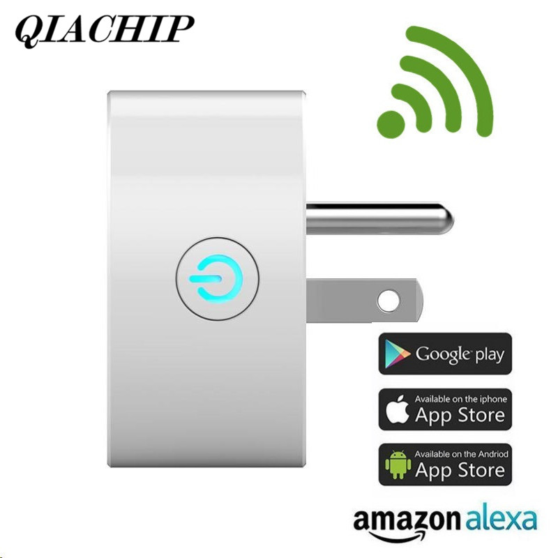 QIACHIP Wifi Mini Smart Socket US Plug Remote Control Amazon Alexa Power Strip Timing Switch for iOS Android Smartphone Tablet smart home power plug wifi socket strip wifi timing plug power strip 4 ports individual wireless remote control us plug