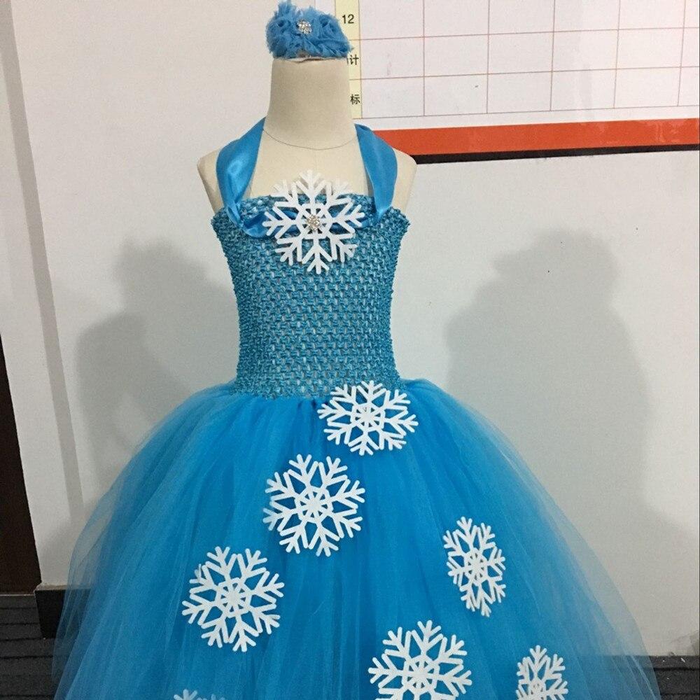 Children Girls Princess Elsa Tutu Dress Blue Snow Flake Baby Girl ...