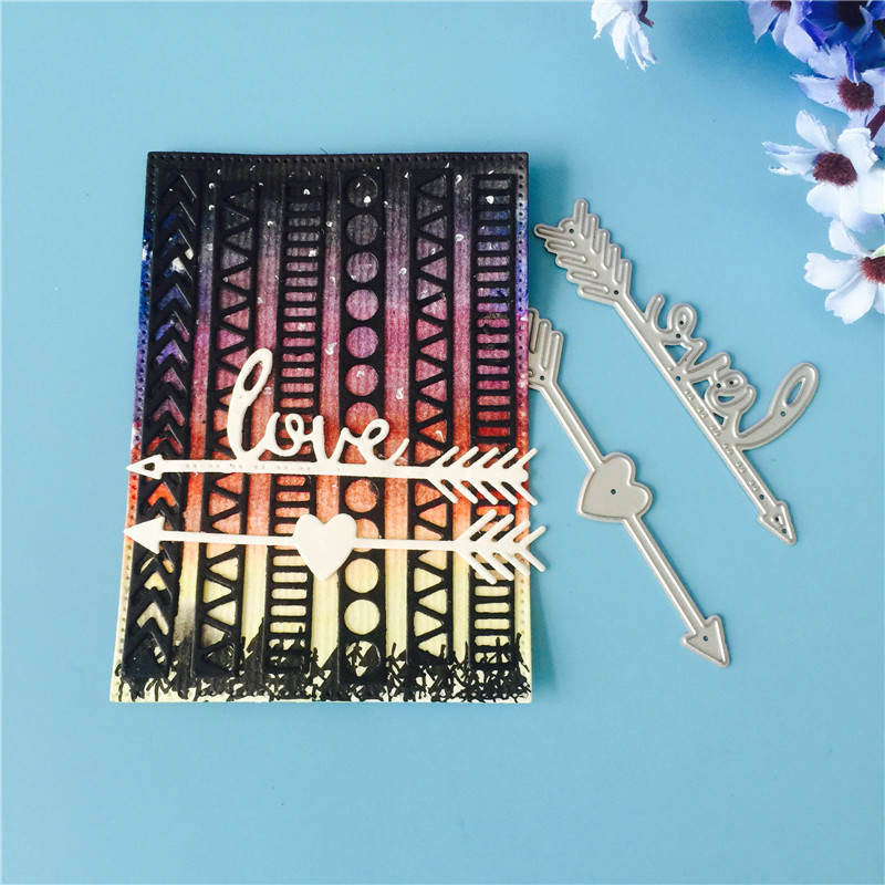 A Love Arrow Heart Metal Cutting Dies for Scrapbooking DIY Album Embossing Folder Paper Cards Maker Template Decor Stencils in Cutting Dies from Home Garden