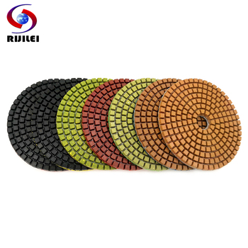RIJILEI 7PCS/Set 4Inch Diamond Concrete Polishing Pads 100mm Resin Floor Grinding Tools Wet Polishing Stone Grinding Discs LW01 rijilei 7pcs set 5inch white diamond polishing pad 125mm wet polishing pads for stone concrete floor polishing tool hc15
