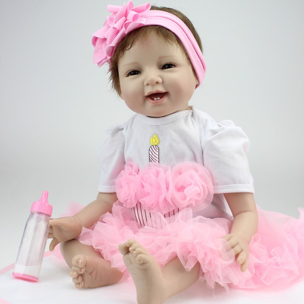 NPK 55 см улыбка лицо Bebe возрожденная кукла, Реалистичная Мягкие силиконовые Reborn Baby куклы игрушки для девочек подарок на день рождения модные ...