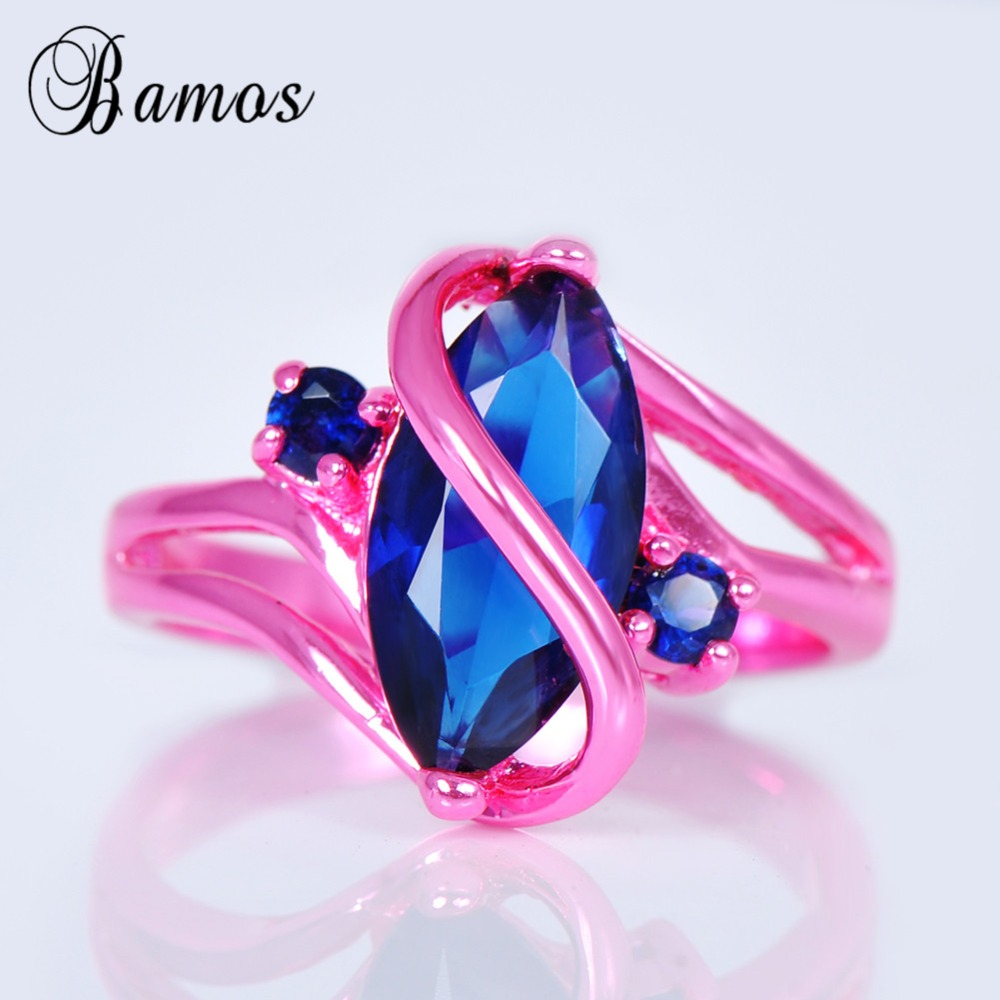 ᗔBamos Vintage S Style Blue Cubic Zircon Ring Pink Gold Filled ...