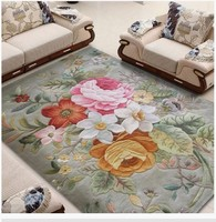 Handmade three dimensional carved pure wool carpet chinese rustic style american living room coffee table carpet