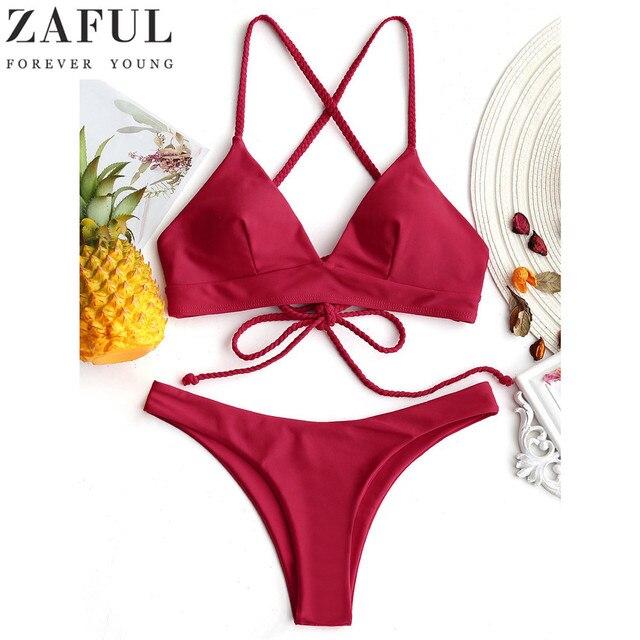 1be54cd890 ZAFUL 2018 Sexy Cross Back Plaited Cami Bikini Set Women Bandage Swimsuit  Bathing Suit Summer Spaghetti