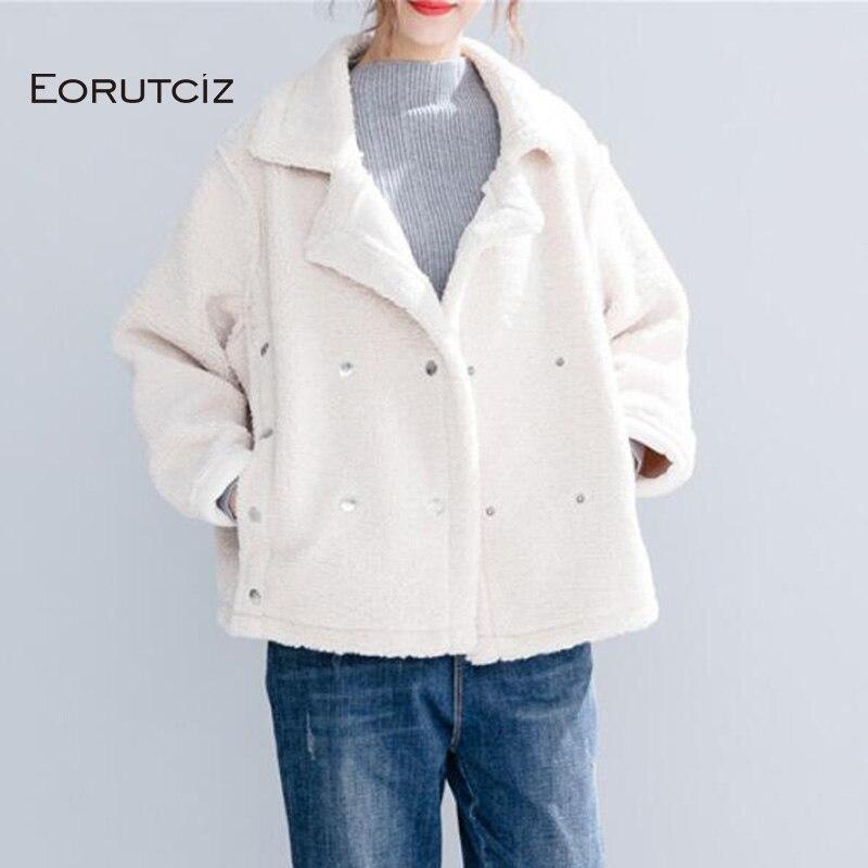 EORUTCIZ Winter Velvet   Parka   Women Jacket Warm Thick Oversize Fleece Coat Streetwear White Vintage Autumn Outerwear LM134