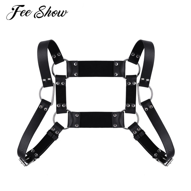 Mens Adjustable Flexible Body Garters Bondage Faux Leather Square Shape  Body Chest Half Harness Belt Cosplay Clubwear Costumes