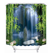 3D Pattern Shower Curtains Bamboo Lotus and Waterfall Stone Bathroom Curtain Waterproof Thickened Bath Curtain Customizable все цены