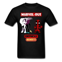 Mens Spider Alice And Chibi Deadpool T Shirt Concert Personality Pink Tee For Man Round Collar