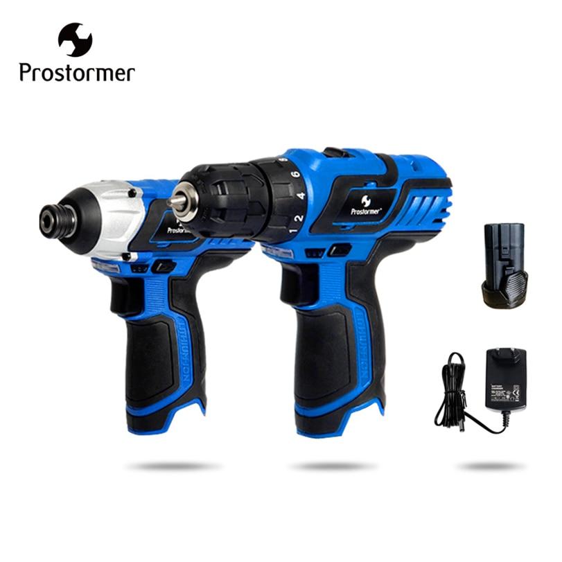 все цены на Prostormer 12V Hand Electric drill+cordless screwdriver High quality drill electric Screwdriver Machine Rechargeable Power tools онлайн