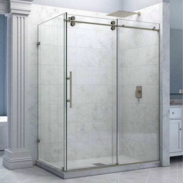66ft rectangle chrome polished bypass frameless sliding glass shower door track twin roller barn shower - Glass Shower Door Hardware